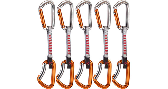 Mammut Wall Key Lock Express Set Straight Gate/Bent Gate 5er Pack 10cm silver-orange